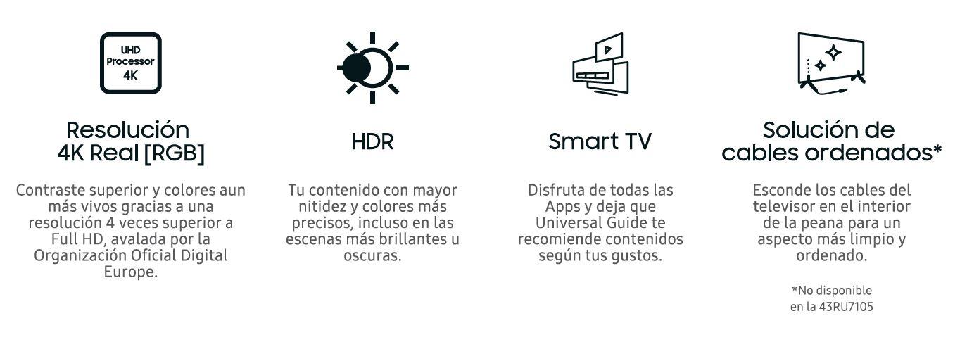 Televisor 4K UHD HDR Smart TV Serie RU7105