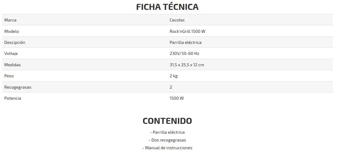 parrilla electrica Rock&Grill 1500 ficha tecnica
