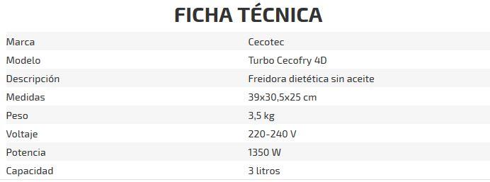 TURBOCECOFRY Freidora dietética 4D - ficha tecnica